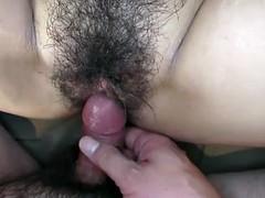 Busty brunette gets her bushy cunt creamed after fucking