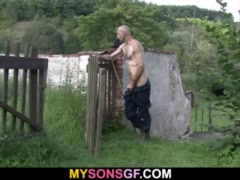 Horny old man helps his son's GF