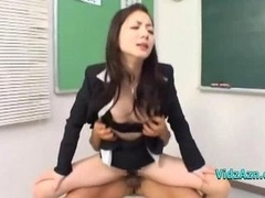 Teacher Giving a blowjob Purple poles Fucked By 2 Men Face cumshot And also Internal cumshot In The Classroo