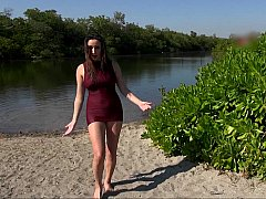 ビーチ, デカパイ, 巨乳な, ドレス, アウトドア, いじめ, オッパイの, 濡れ
