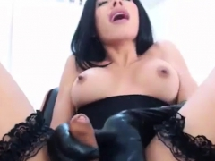 Emmilysantibanez Wanks in Leather Gloves - ShemaleDreamCams