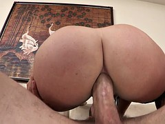 sophie dee plants her thick ass on his dick for an anal ride