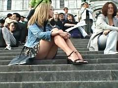 美女, フランス人, アウトドア, スカートのぞき, のぞき