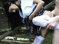 Sexy schoolgirl gets bonked in public places