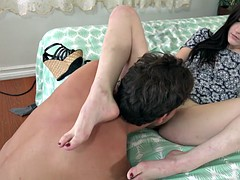 Jenna Reid Sexy Red Toes Wrapped Around Huge Cock