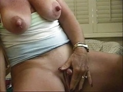 Hoe granny sizeable nipples stroking her sizeable butter bean
