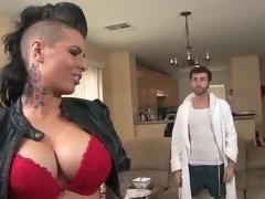 Wild dark haired porno slut needs some anal banging with her man