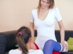 fine lezzies in pantyhose admiring strap
