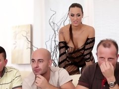 Several men are having their way with a hot little bimbo here