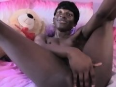 Ebony ts shemale stroking her black cock