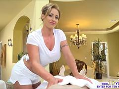 Big tits blonde MILF steals little boyfriend during a massage