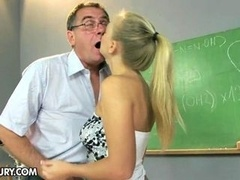 18-19 y.o. Barbie White and also her teacher at the classroom
