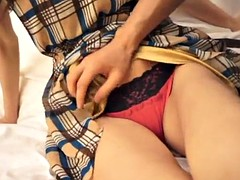 tantalizing asian with long hair getting fingered in a hot reality