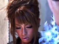 japanese leather girl sucks and fucks