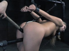Bound bdsm sub dildo fucked with stick by dom