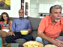 Liza Rowe sucks dads friends cock in kitchen