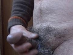 Japanese mature guy solo shenanigans erect purple rod