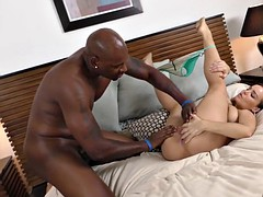 Busty Natasha Nice takes over sized dong in all holes