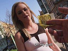 美女, フェラチオ, ヨーロピアン, お金, ハメ撮り, オマンコ, フェラする