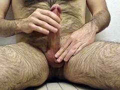 Furry, uncut, nipple play, throbbing and cumming