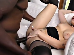 dahlia sky enjoys huge black cock sliding in her pussy and ass