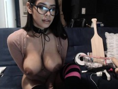Mexican babe reveal big boobs in webcam