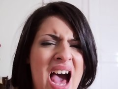 Short-haired girl sucking dick and having it inside of her ass