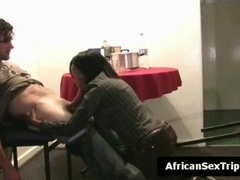 Ideal tooshie African hooker gives white tourist a bj in hotel room on inexperienced vid She is recorded while giving head his huge fuck tool Th