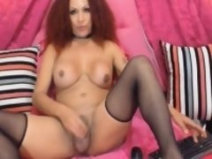 Awesome Tranny Jerks Her Huge Cock