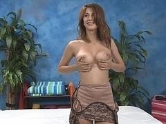 Karina unclothing before doing massage