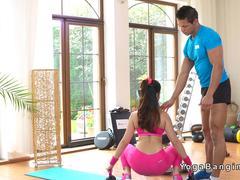 Babe in pink sports wear bangs coach