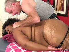 Black BBW Peaches Love Has Her Fleshy Body and Cunt Massaged