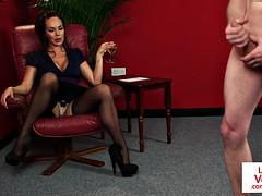 british femdom voyeur instructs jerkjob