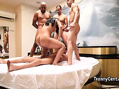 Guy fuck tgirl ass behind the scene