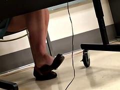Candid Teacher Brown Flats Shoeplay Feet Dangling 2