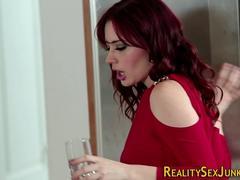redhead pornstar spunked blowjob