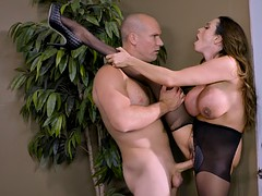 busty mom ariella ferrera fucked standing in the office