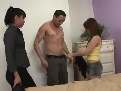 Teen and MILf from Asia give pleasure to common white lover