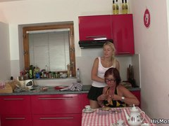Teen and mom toying pussies when alone