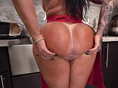 monica santhiago shows off her wonderful big ass in the kitchen