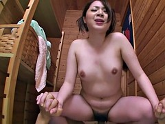 Slamming the bitch deep in her pussy in the sauna