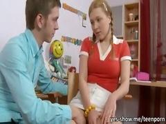 Pigtailed blonde teen gal Sarah hard anal sexperience