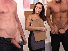 Liza del Sierra interviewing two candidates