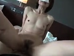 Hairy pussy Asian amateur babe bangs pov