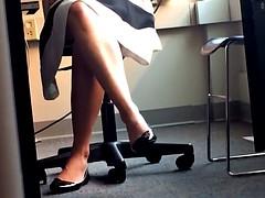 Teacher Heel Popping in Class