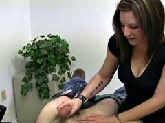 Hot secretary mistress jerks off a guy