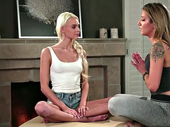 meditating turns into pussy licking with sophia and emma