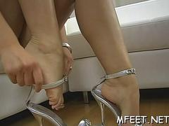 homemade footjob by a brunette segment clip 1