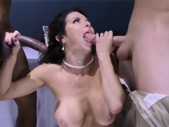 Huge juggs ho double penetrated by many big hard cocks