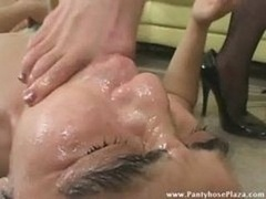 Mistress Dominates Slave By Feet As He Masturbates